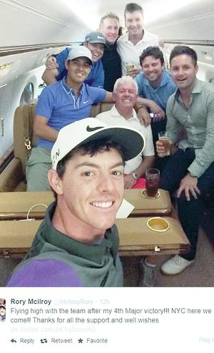 Rory tweeted this photo from the plane