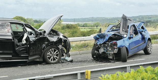 The two cars which collided on the Slaughterford Road in Whitehead on Monday evening
