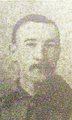 The grainy Belfast Telegraph picture of Rifleman George Burke from 1916