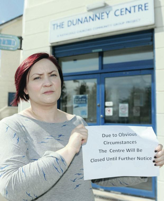 Dunanney Centre manager Vicky Moore with a notice yesterday announcing the closure of the centre after the latest attack