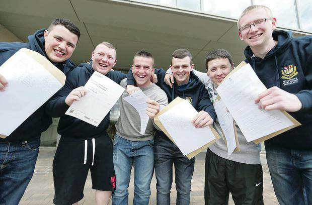 Belfast Boys Model students celebrate their A-Level results yesterday