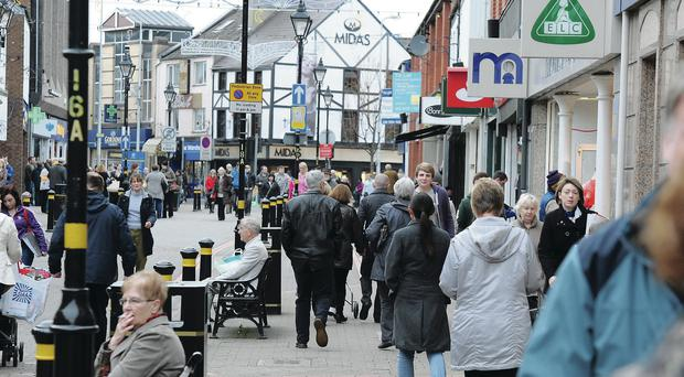 A busy shopping day in Lisburn town centre
