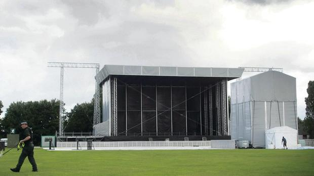 The stage for Tennent's Vital under construction yesterday
