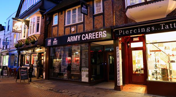 The Armed Forces careers office in Canterbury, Kent, where suspected explosive devices were found