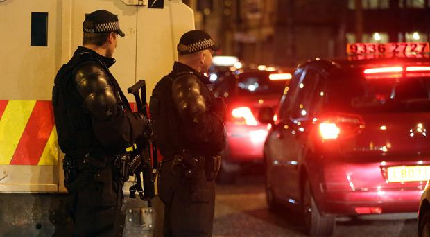Armed Police sealed off the Cathedral Quarter in Belfast after an explosion in city centre just before Christmas