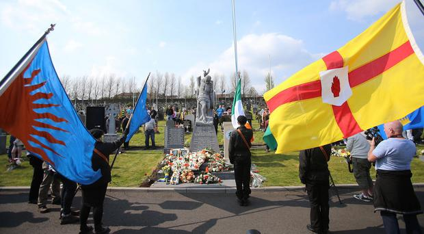Members of the 32 County Sovereignty Movement gathered at the City Cemetery in Londonderry to commemorate the Easter Rising in May