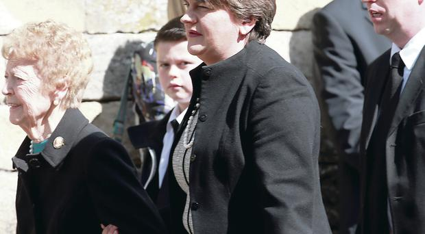 Enterprise Minister Arlene Foster at the funeral of her uncle yesterday