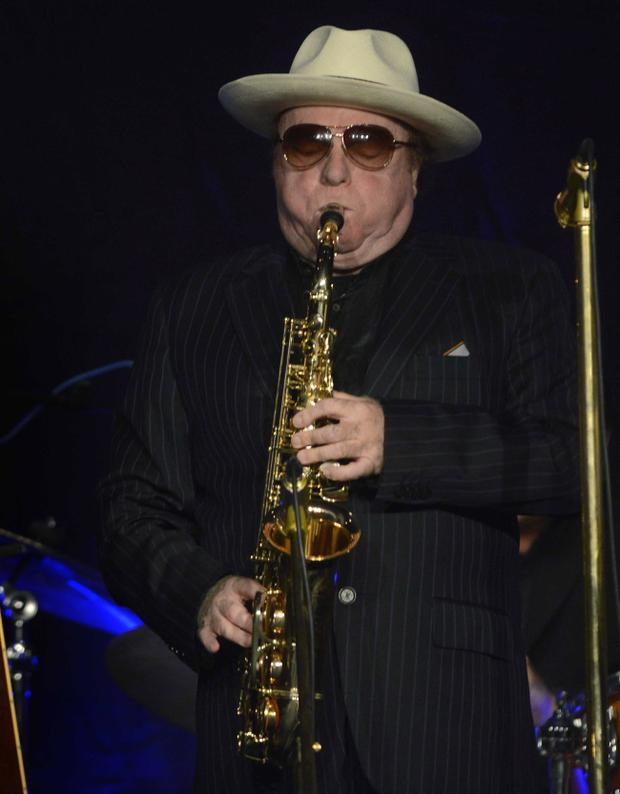 Van Morrison performing at his old school, Orangefield High last night