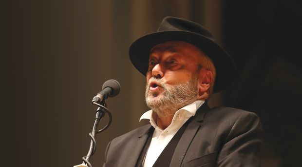 George Galloway during his talk at the Ulster Hall