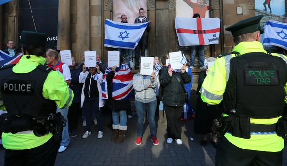Loyalist protesters outside the venue