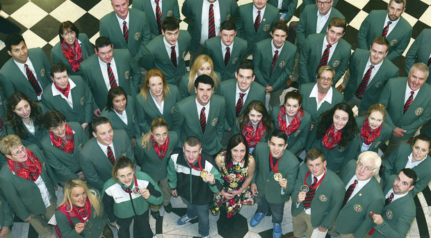 Lord Mayor Nichola Mallon with Northern Ireland Commonwealth Games competitors at a reception she hosted in Belfast City Hall yesterday afternoon to recognise their achievements in Glasgow