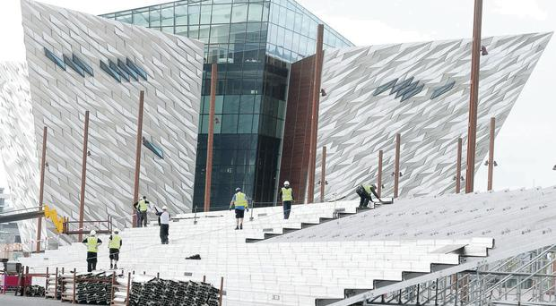 Workers lay the stage for the world title showdown next weekend in the Titanic Quarter between challenger Carl Frampton and champion Kiko Martinez