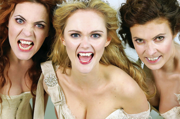 From left: Rachel Tucker, Jayne Wisener and Kym Marsh (also below) as the three brides in Jonathan Harker And Dracula