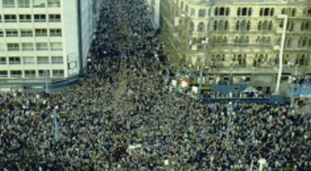 The vast crowd gathered outside Belfast City Hall in November 1985 to protest at the signing of the Anglo-Irish Agreement