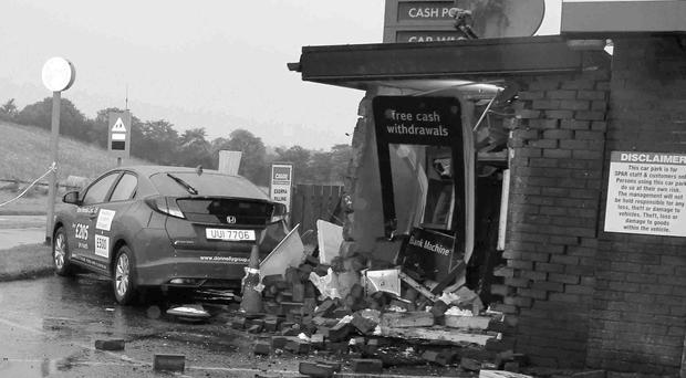 The scene at the petrol station near Castlerock where thieves tried to smash their way in to an ATM