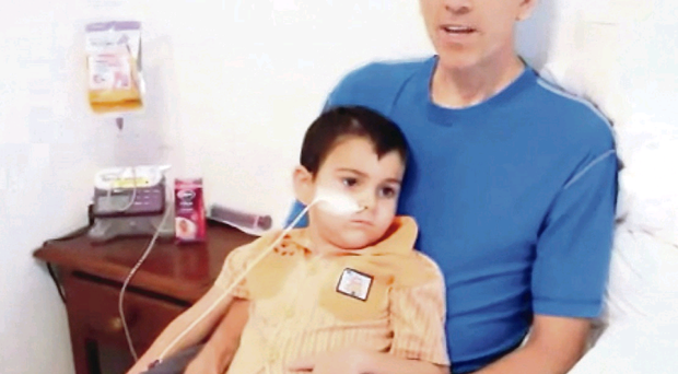 A video grab taken from a posting on YouTube showing Brett King with his son Ashya