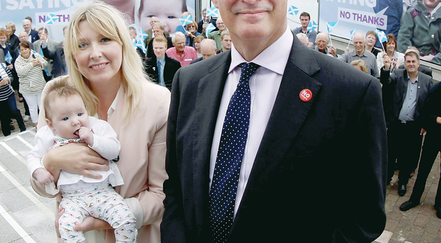 Better Together leader Alistair Darling launches a new ad van campaign with Leanne Williams and baby Charlotte near the Beacon Arts Centre in Greenock yesterday