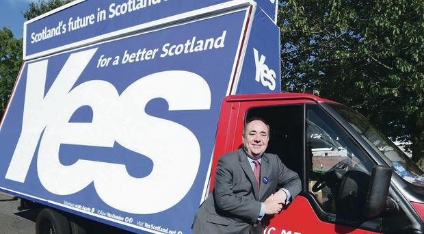 SNP leader Alex Salmond on the Yes campaign trail