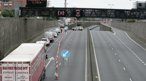 The Westlink was yesterday closed in both directions and a number of homes evacuated due to a security alert
