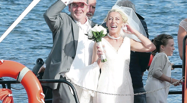 Happy crew: Ian and Nuala Duncan on their way to their reception on the RIB Corryvreckan