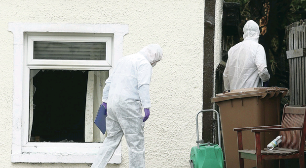 Forensics officers at the scene after a 91-year-old man died in fire at Thorndale Park off the Hillsborough Road in Carryduff