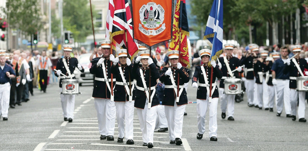 Scottish bands march through Belfast last year on the Twelfth. An Orange parade in support of the Union will take place in Scotland in Edinburgh five days before the vote