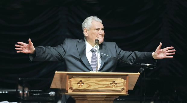 Farewell: Preacher McConnell giving his final sermon on Sunday