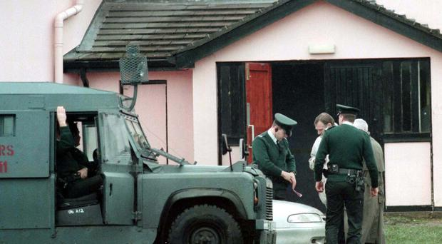 Police outside The Glengannon Hotel, near Dungannon, where doorman and former republican prisoner Seamus Dillon was shot dead in 1997