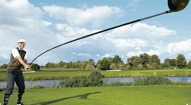 Karsten Maas from Denmark with the longest usable golf club which measures 14ft 5in