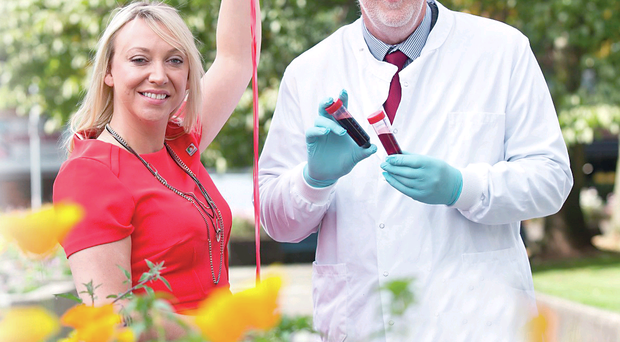Caroline Crothers from Leukaemia and Lymphoma NI joins Professor Ken Mills to launch Blood Cancer Awareness Month