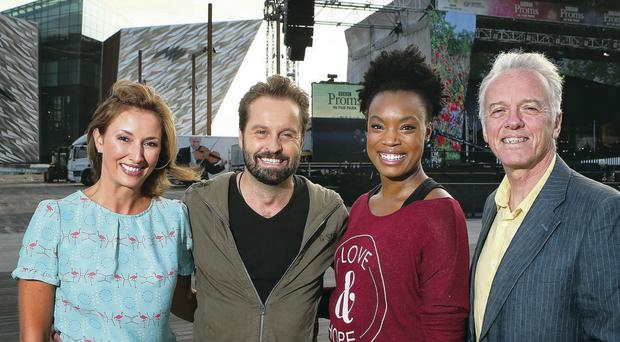 Presenters Claire McCollum (left) and Noel Thompson (far right), welcome the tenor Alfie Boe and jazz singer Dana Masters yesterday before tonight's performance