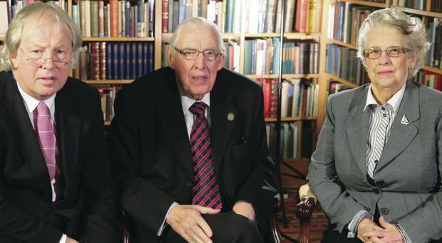 Journalist Eamonn Mallie with Ian and Eileen Paisley while filming Mr Paisley's final interview