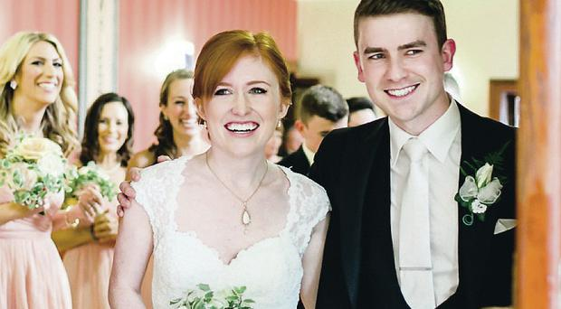Sheer joy: Lillian and Matthew on their wedding day