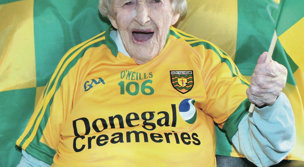 106-year-old Julia McAteer, one of the oldest GAA supporters in Ireland, is all set to roar on her beloved Donegal while wearing her personalised shirt