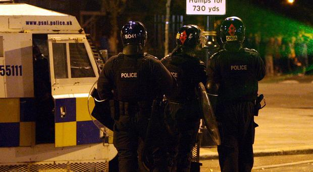 A brick injured a police officer in Grand Parade, east Belfast