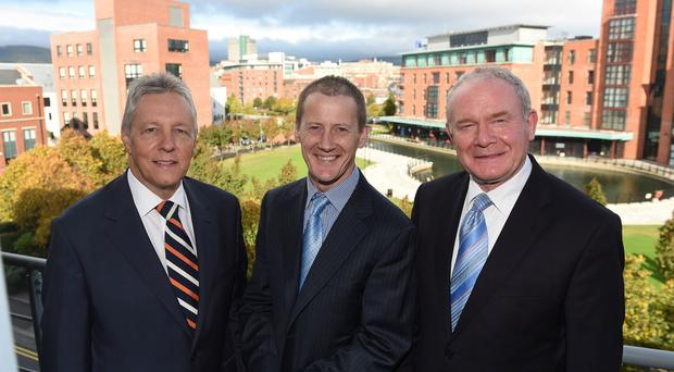 Version 1 managing director Justin Keatinge (centre) meets First Minister Peter Robinson and Deputy First Minister Martin McGuinness