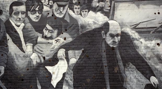 A mural in the Bogside area of Londonderry depicting a scene from the Bloody Sunday killings