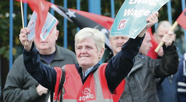 Scenes from the picket at the Royal Victoria Hospital