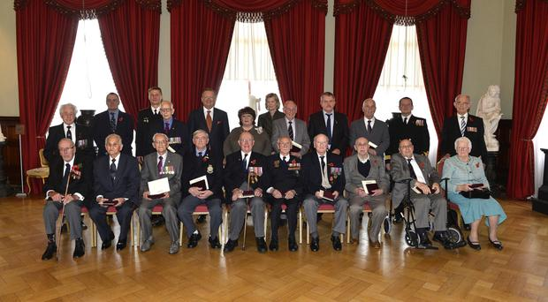 Northern Ireland veterans of the Arctic convoys who received their Ushakov medals in Belfast yesterday