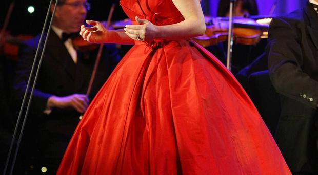 Soprano Rebekah Coffey on stage at the BBC Proms in the Park