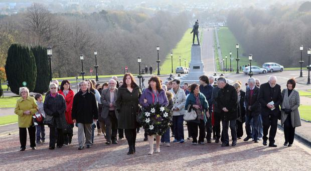 Families of the Disappeared gathered at Stormont yesterday to mark the plight of those who are yet to have the remains of their loved ones returned