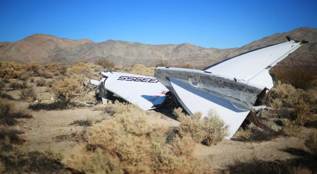 The tailplane of the crashed Virgin Galactic spaceship