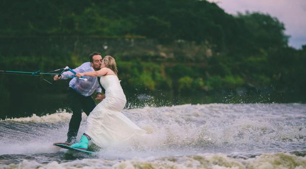 Peter Stewart and fiancée Fiona Bannon on the River Bann
