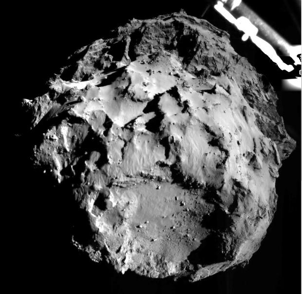 This European Space Agency photo was taken by the Philae lander from approximately 3km as it descended on Comet 67P yesterday