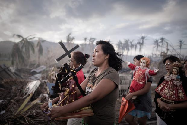 Survivors of typhoon Haiyan during a religious procession in Leyte