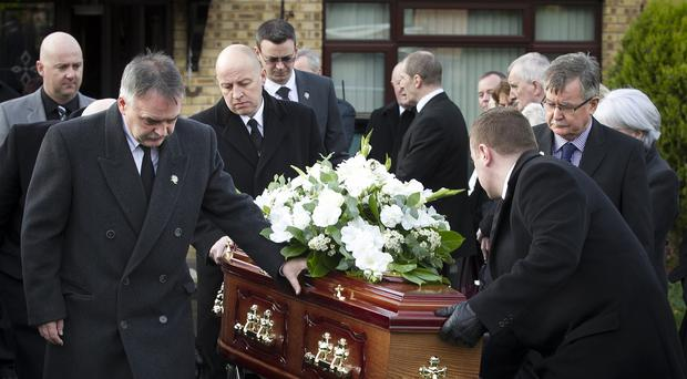 The funeral of Disappeared victim Brendan Megraw was held at St Oliver Plunkett Church in Belfast
