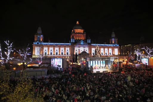 Christmas lights switch-on coincides with the opening of the Belfast Christmas Continental Market