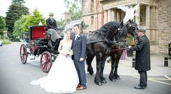 Disa and Derryk on their wedding day at Belfast Castle