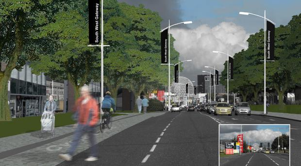 A computer-generated image of the South West Gateway Masterplan which will regenerate Belfast's Boucher and Andersonstown areas