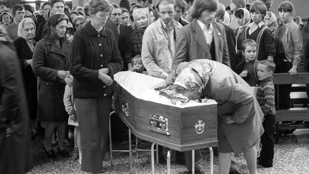 Mourners at the funeral of one of the Ballymurphy victims
